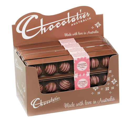 Chocolatier - Milk Chocolate Champagne Truffle- Pink Stripe