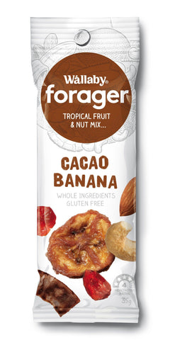 8 x Wallaby Forager - Cacao Banana (Gluten Free) Fruit & Nut Slices Wallaby