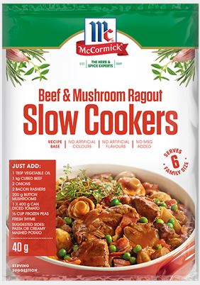 McCormick - Slow Cookers Beef & Mushroom Ragout Recipe Base 40g x 12