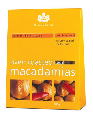 12 x Brookfarm Macadamia Nuts - Oven Roasted with Kashmiri Chilli Muesli/Bars Brookfarm