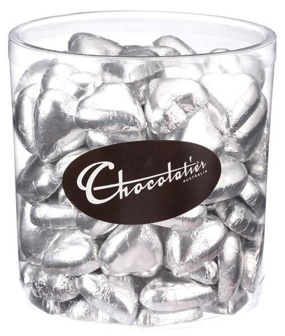 Chocolatier Wrapped Bulk Chocolate - Hearts Silver Tub 1 kg (Milk) Approx. 120 Chocolates Chocolatier Australia