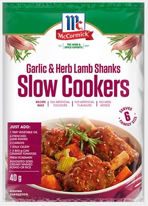 McCormick - Slow Cookers Garlic & Herb Lamb Shanks Recipe Base 40g x 12