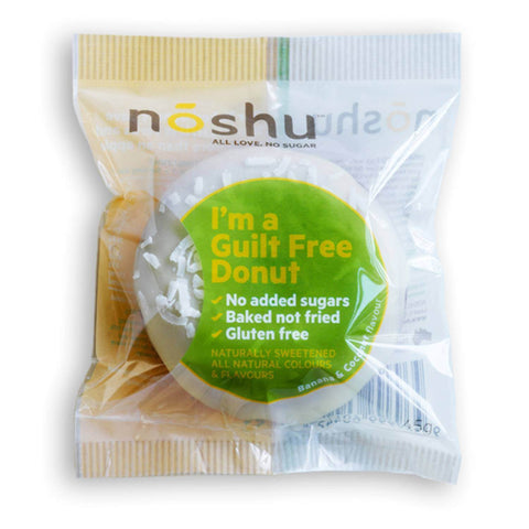 12 x NOSHU Donuts - Donuts Banana Coconut (Individually Wrapped, Gluten & Grain Free, No Added Sugar)