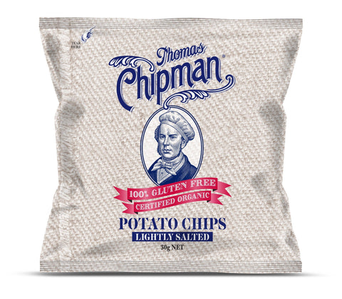 24 x Thomas Chipman Potato Chips Lightly Salted 30g Organic Chips Thomas Chipman