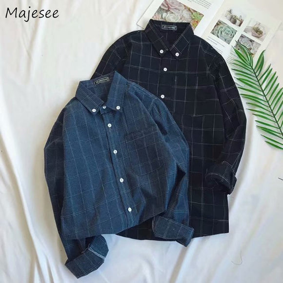 Shirts Men Single Breasted Leisure Simple All-match Korean Style Slim Turn-down Collar Shirt Mens Plaid Retro Harajuku Clothes