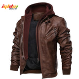 Men's Autumn Winter Motorcycle Leather Jacket Windbreaker Hooded PU Jackets Male Outwear Warm Baseball Jackets Plus Size 3XL