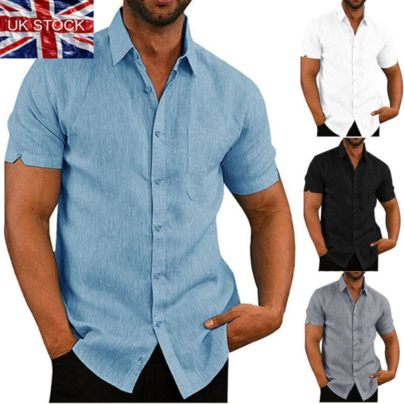 Mens Linen Blouse Short Sleeve Baggy Buttons Summer Solid Comfortable Pure Cotton And Linen Casual Loose Holiday Shirts Tee Tops