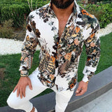 Men's Tops Holiday Floral Shirts Long Sleeve Casual Fashion Business Plus Size Buttons Men Shirts