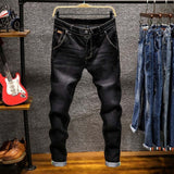 Spring Autu New Men's Elastic Cotton Stretch Jeans Pants Loose Fit Denim Trousers Men's Brand Fashion Wear and washed jean pants