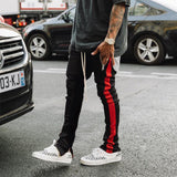 2019 Mens Zipper Pocket Anke Zip Track Pants Long Dawstring Sweatpants Side Striped Patchwork Casual Retro Trousers Man Pants