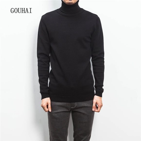 Solid Men's Turtleneck Men Sweater 2019 New Fashion Winter Jumper For Man Pullover Pull Homme Plus Size M-5XL High Quality