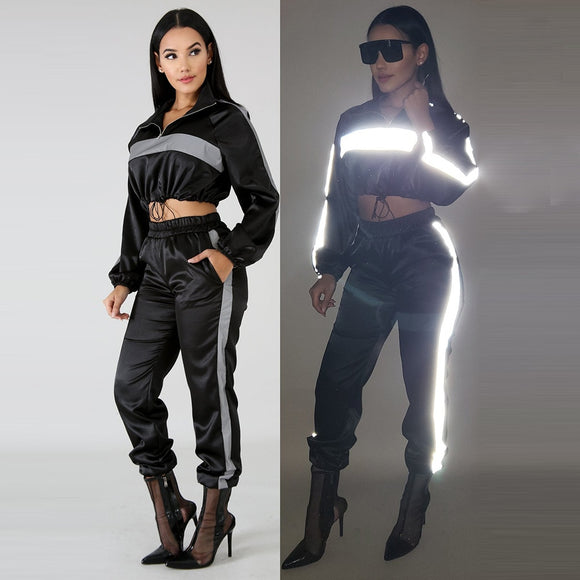 Reflective Two Piece Set Drawstring Crop Top and Pants Hip Hop Club Festival Outfit Tracksuit Joggers Suit C0-AI23