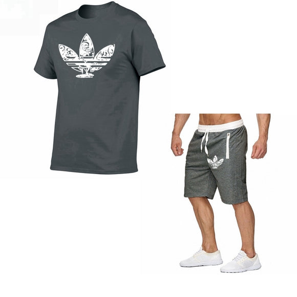 2019 Summer Hot Sale Men's Sets T Shirts+shorts Two Pieces Sets Casual Tracksuit new Male Casual Tshirt Fitness trousers men