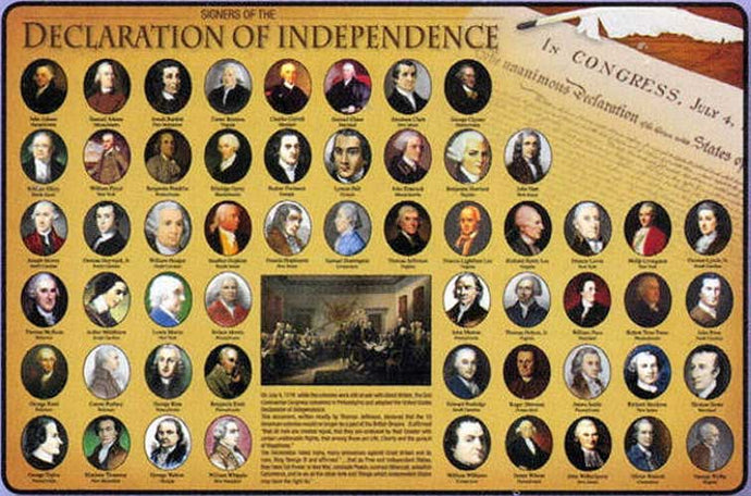 Signers of the Declaration of Independence Placemat