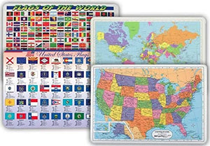 4 Placemat Set: US Flags, World Flags, US Map, World Map