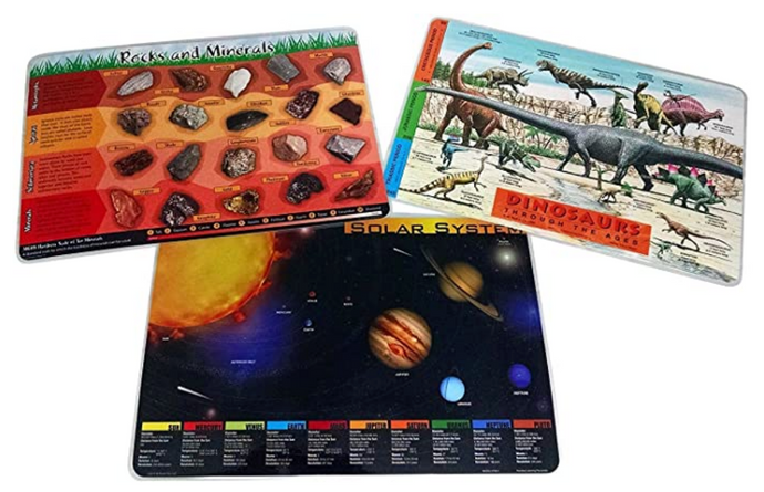 Dinosaurs, Solar System, Rocks and Minerals: Set of 3 Placemats
