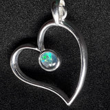 Sterling Silver Heart Pendant with Opal