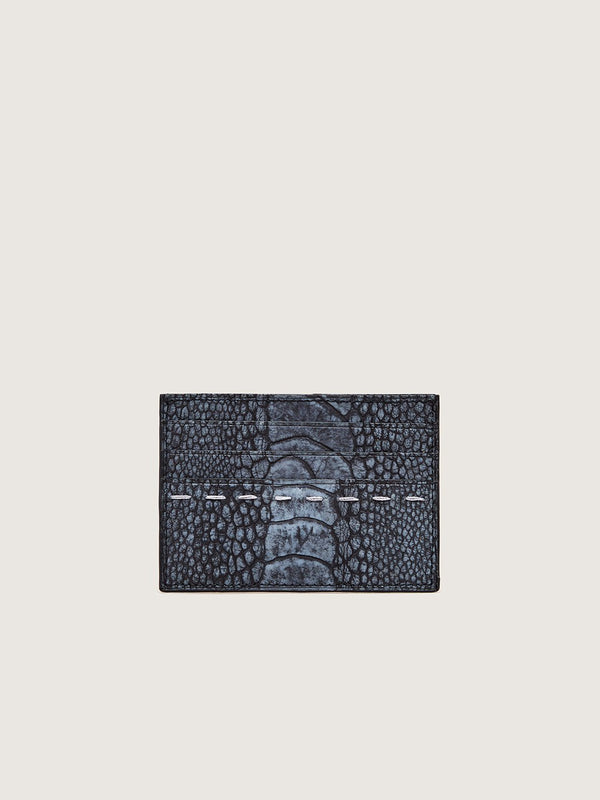 Card Holder - Ostrich Shin Black Stonewash