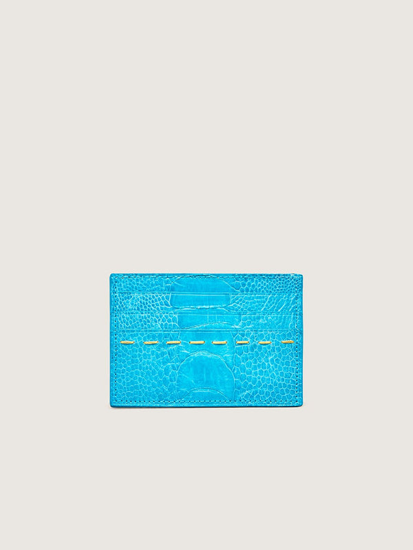 Card Holder - Ostrich Shin Crystal Blue