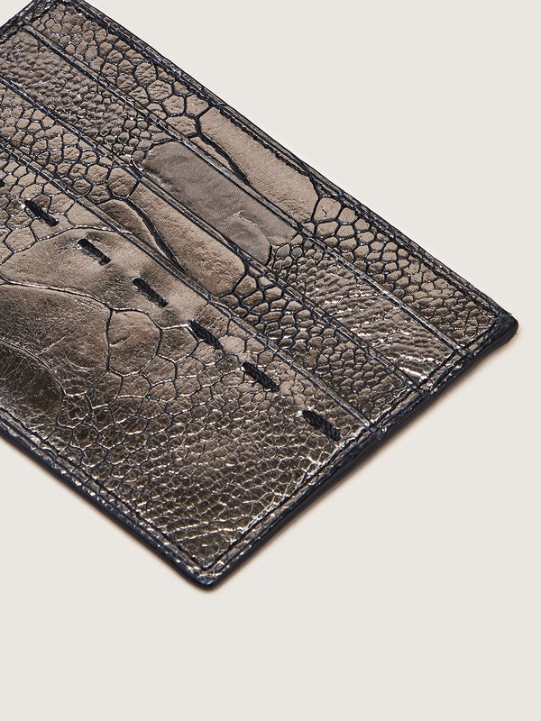 Card Holder - Ostrich Shin Gunmetal