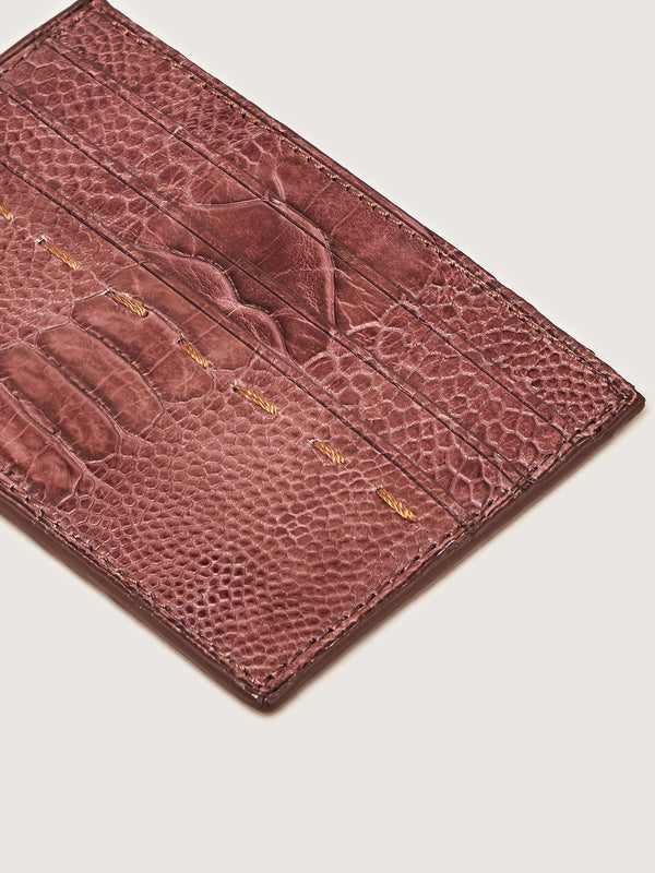 Card Holder - Ostrich Shin Mid Brown
