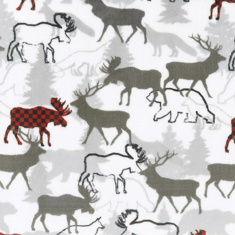 "Cuddle® Prints - Forest Park Scarlet 60"" Minky Yardage"