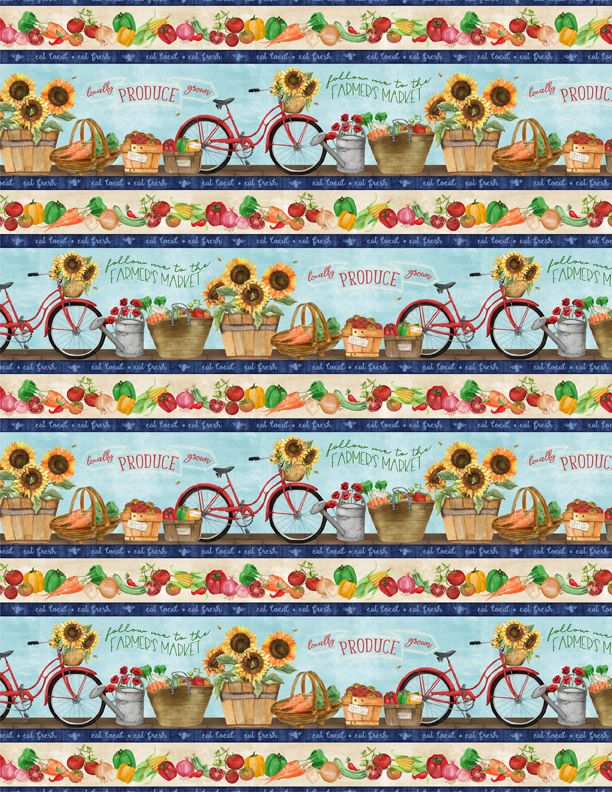 Country Road Market Border Stripe Fabric