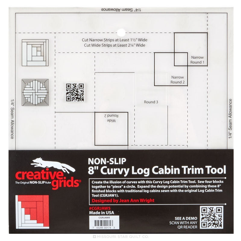 "Creative Grids Curvy Log Cabin Trim Tool 8"" Finished Blocks"