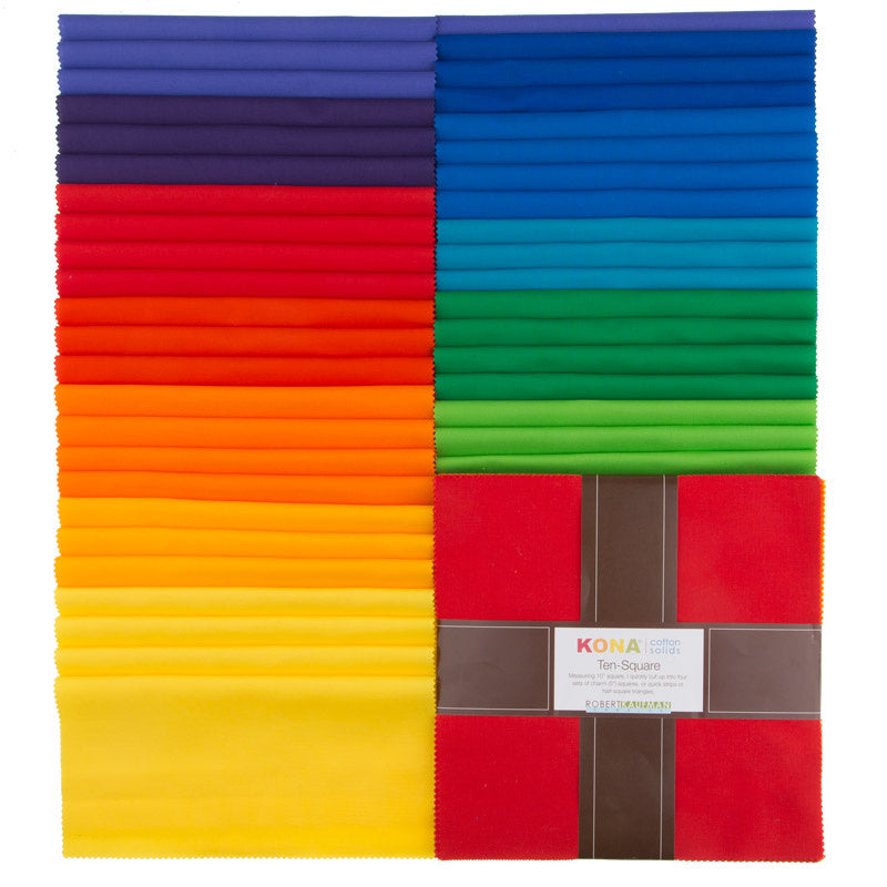 Kona Cotton - Bright Rainbow Palette Ten Squares
