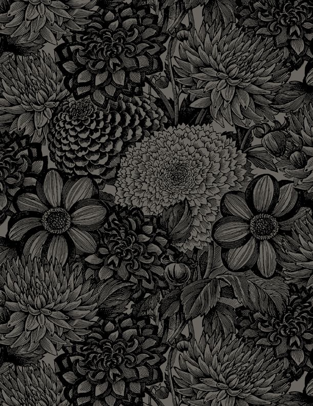 Wilmington Prints 108 Black Floral Toile Fabric