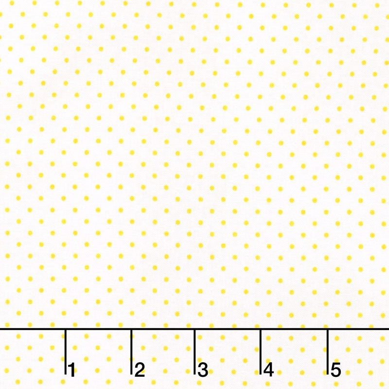 Swiss Dot - Swiss Dot Yellow on White Yardage