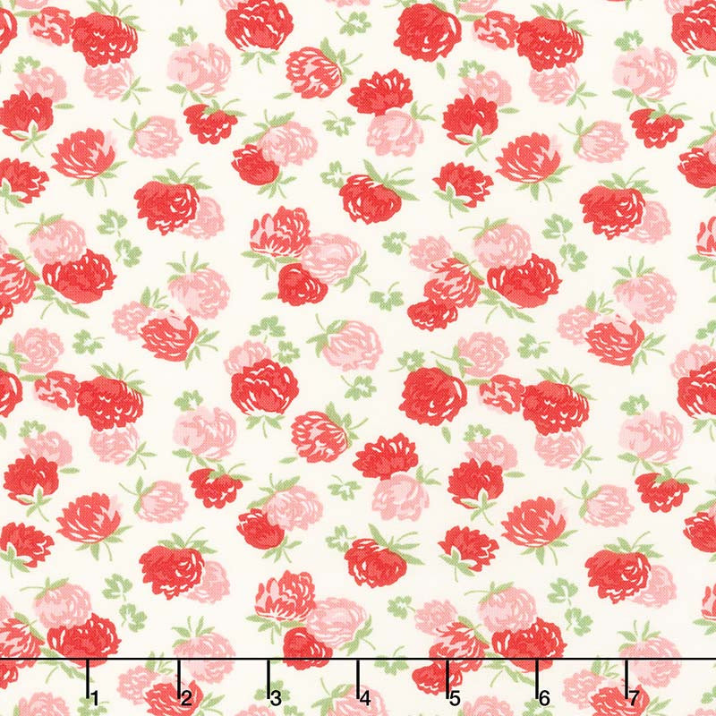 At Home with Bonnie and Camille - Blossoms Cream Red B Yardage