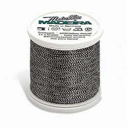 Silver Black Madeira 40 Wt. Metallic Embroidery Thread