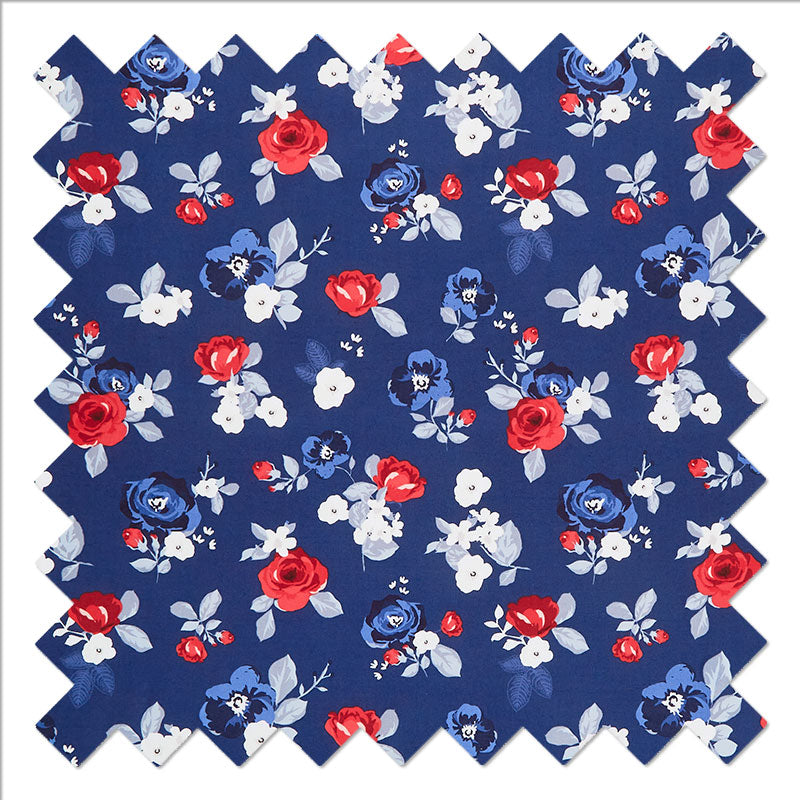 Land of Liberty - Floral Main Navy Yardage