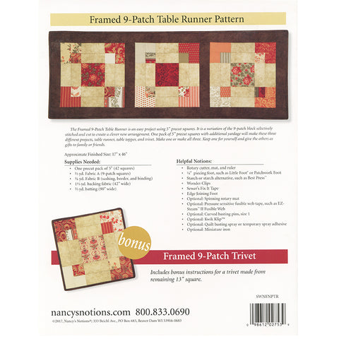 Framed 9-Patch Table Runner Pattern