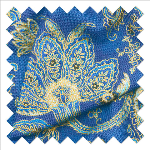 Bella Mariposa - Flowers Indigo Metallic Yardage