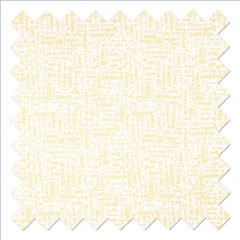 Red White & Bloom - Yellow Wordy Words Yardage
