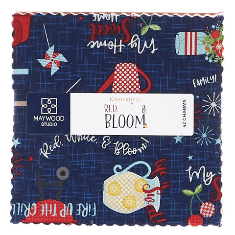 "Red White & Bloom 5"" Squares Pack"