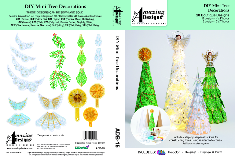 Amazing Designs DIY Mini Tree Decorations Embroidery Designs CD