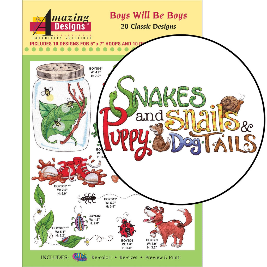 Boys will be Boys Embroidery Designs CD