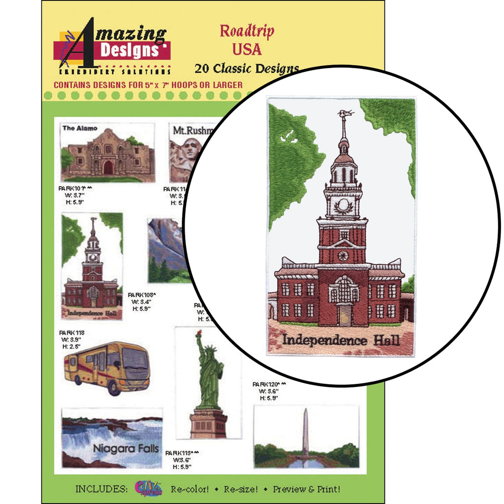 Roadtrip USA Embroidery Designs CD
