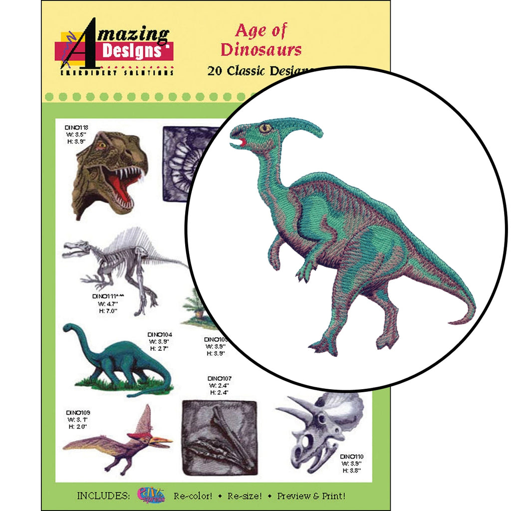 Age of Dinosaurs Embroidery Designs CD
