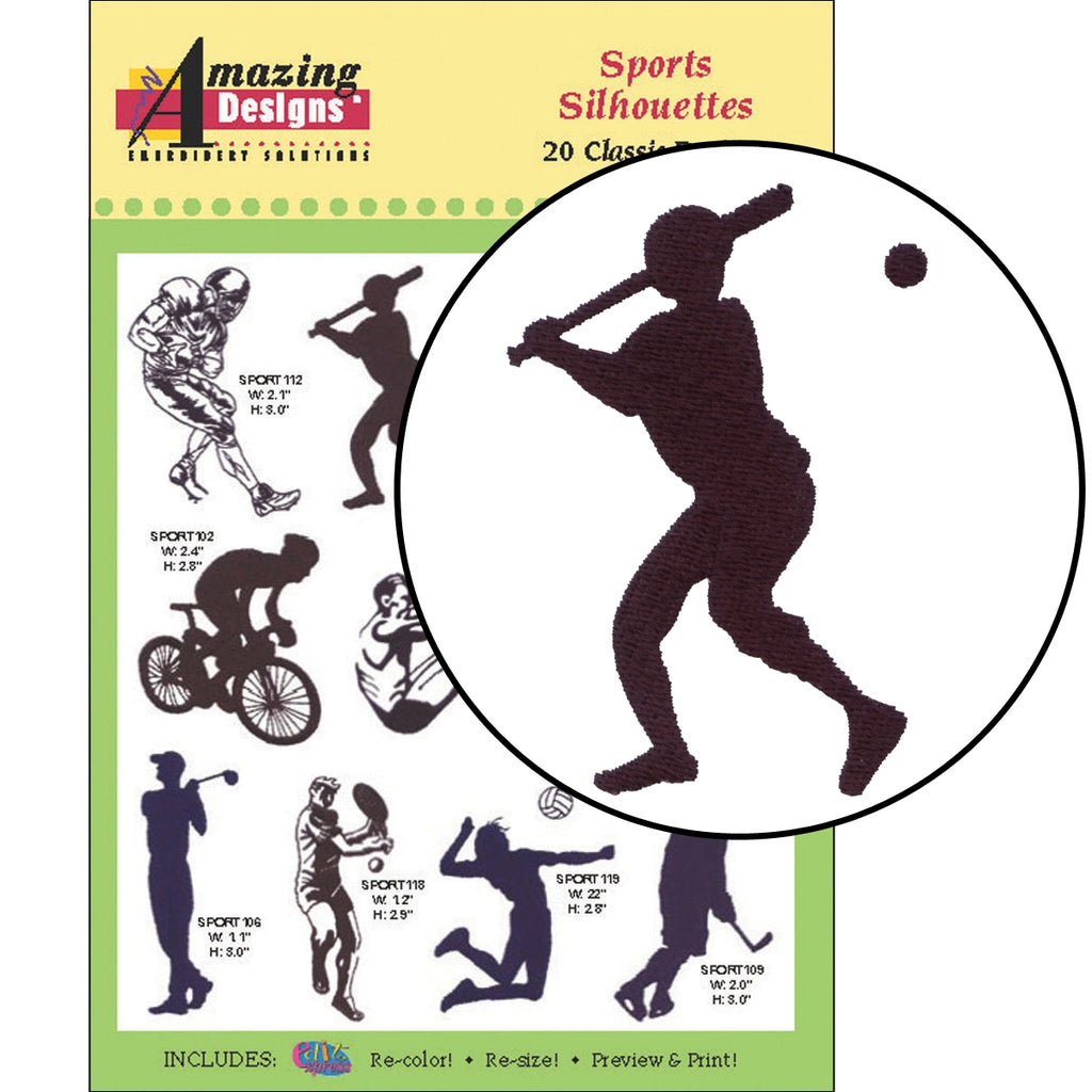 Sports Silhouettes Embroidery Designs CD