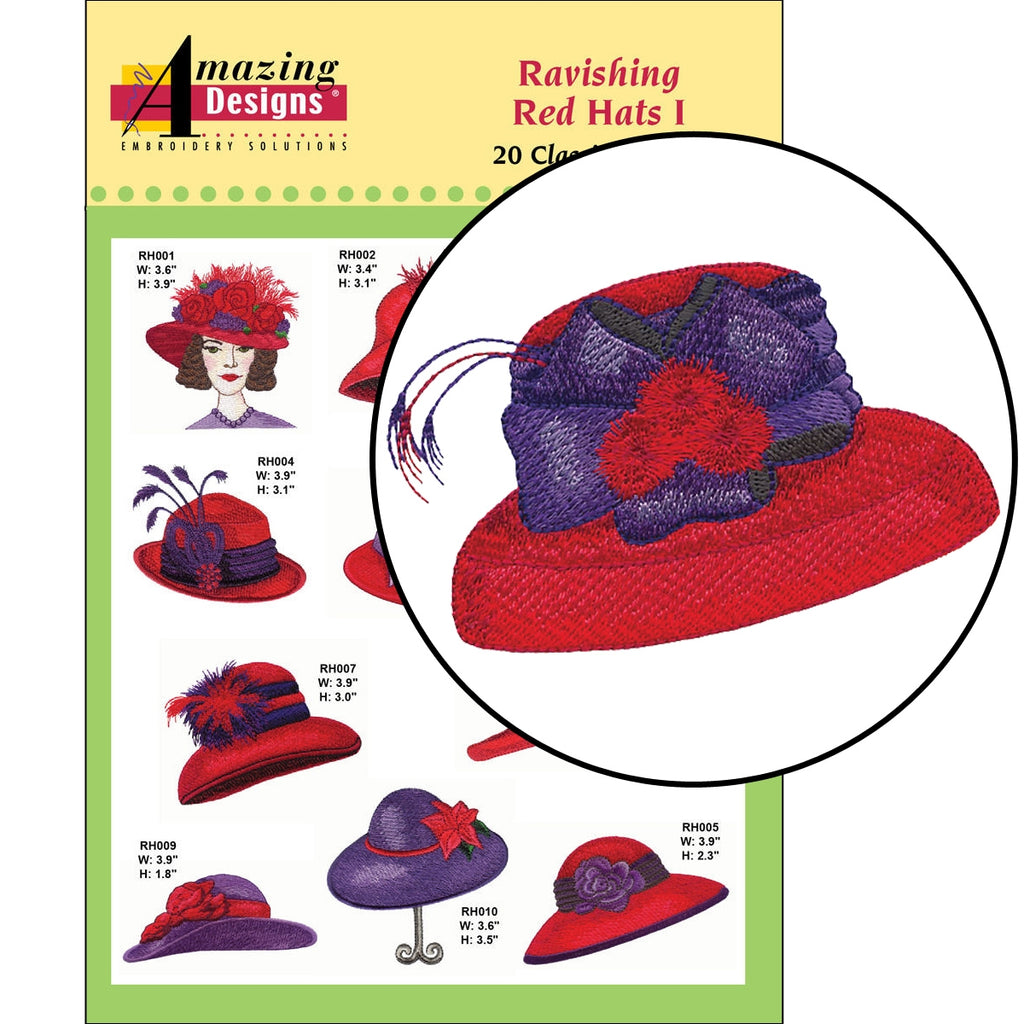 Ravishing Red Hats Embroidery Designs CD