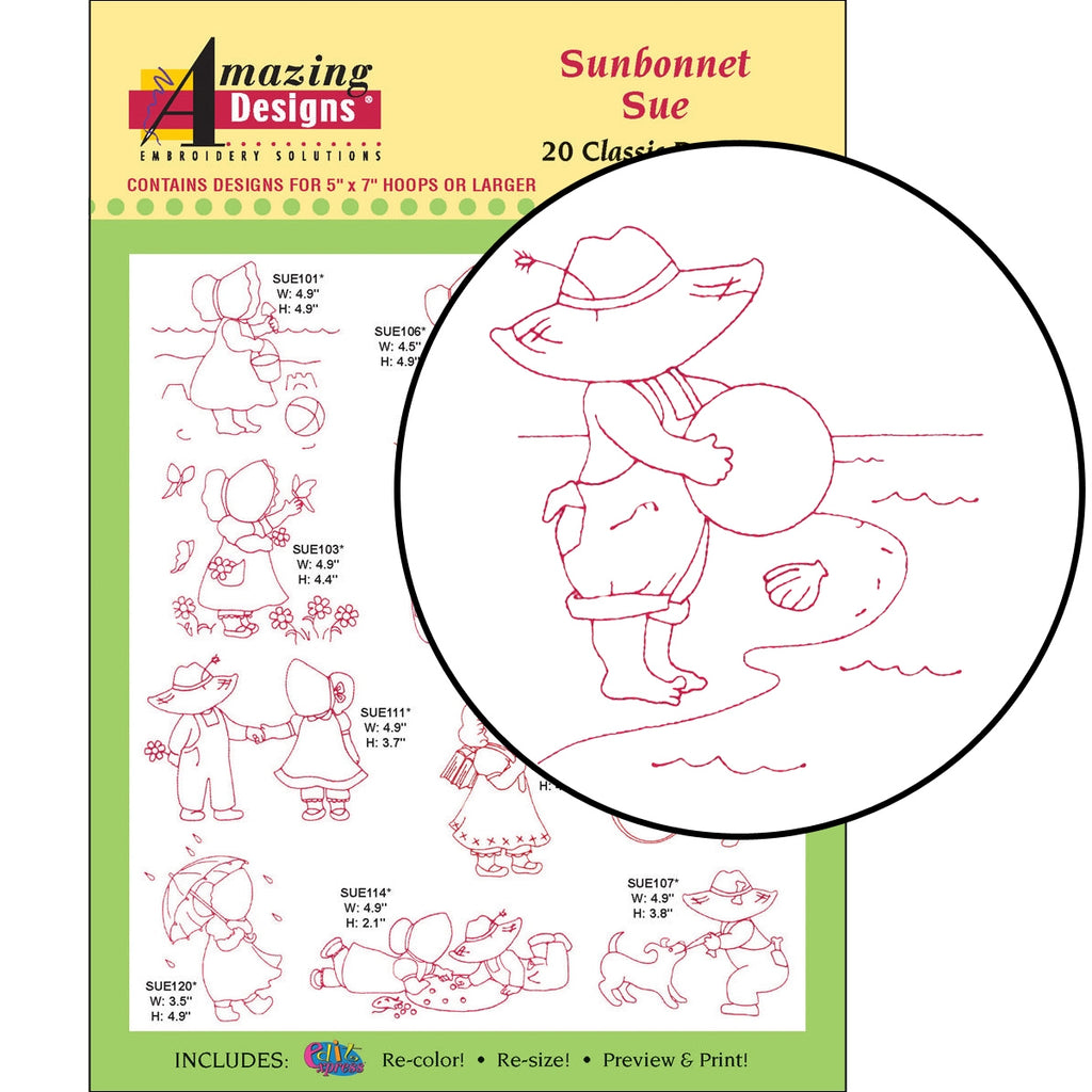 Sunbonnet Sue Embroidery Designs CD