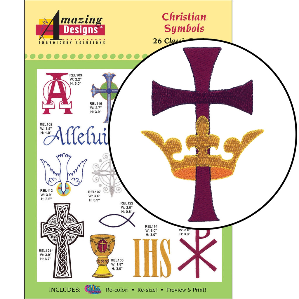 Christian Symbols Embroidery Designs CD