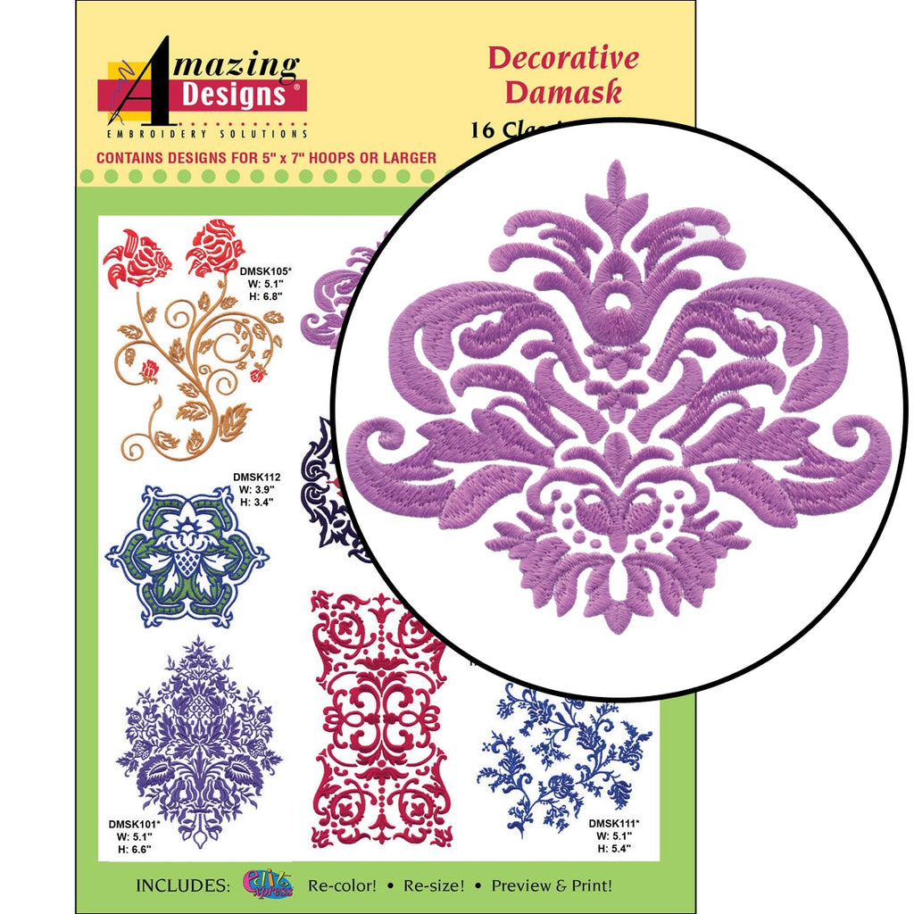 Decorative Damask Embroidery Designs CD
