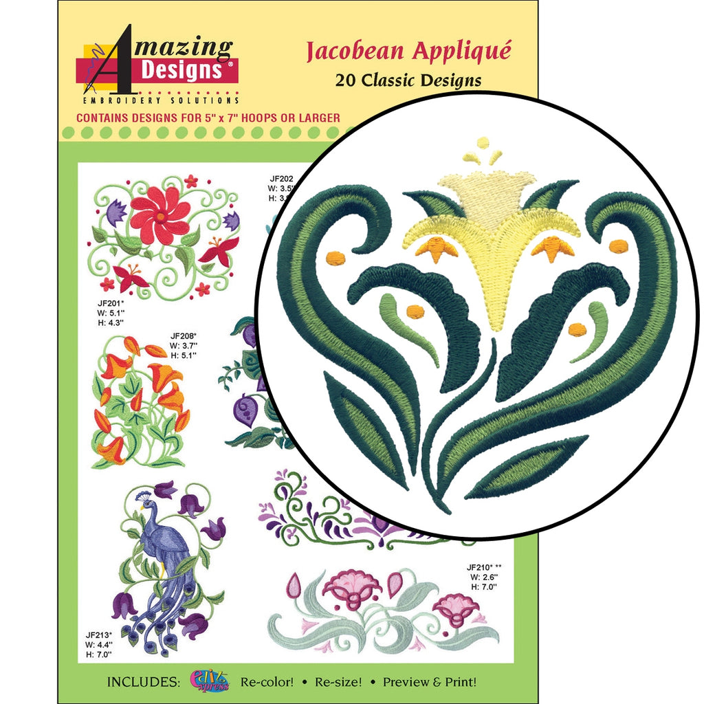 Jacobean Applique Embroidery Designs CD