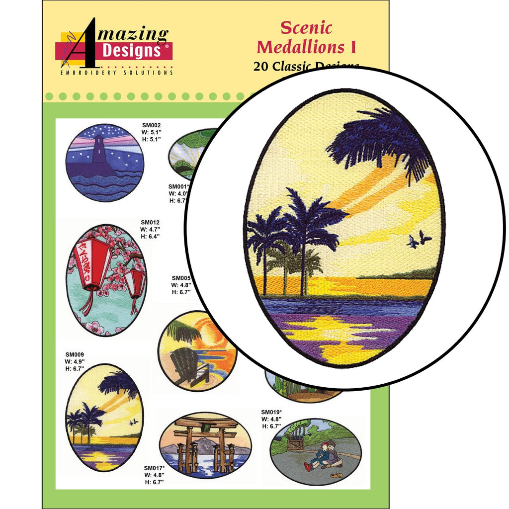 Scenic Medallions I Embroidery Designs CD