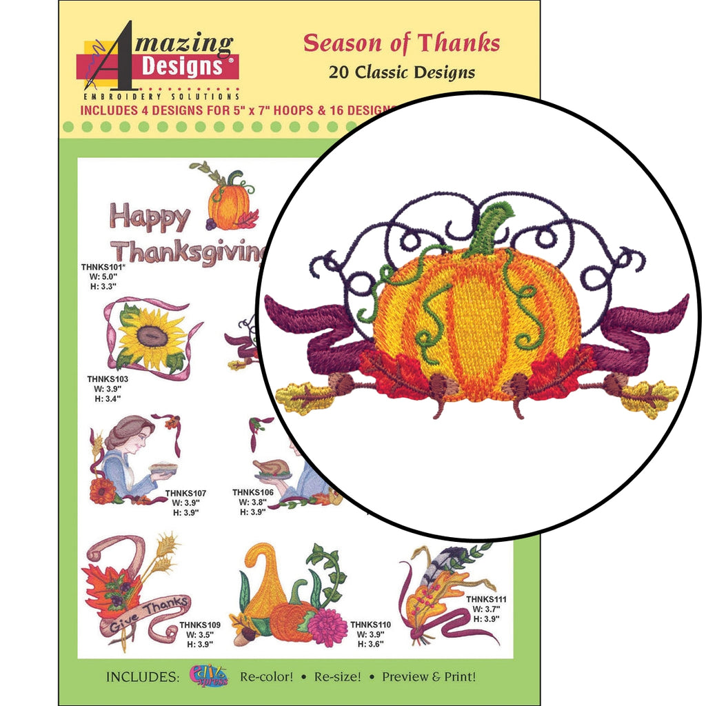 Season of Thanks Embroidery Designs CD
